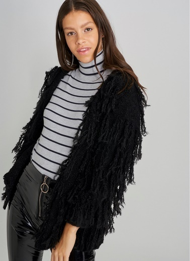 Monamoda Saçaklı Triko Ceket Siyah